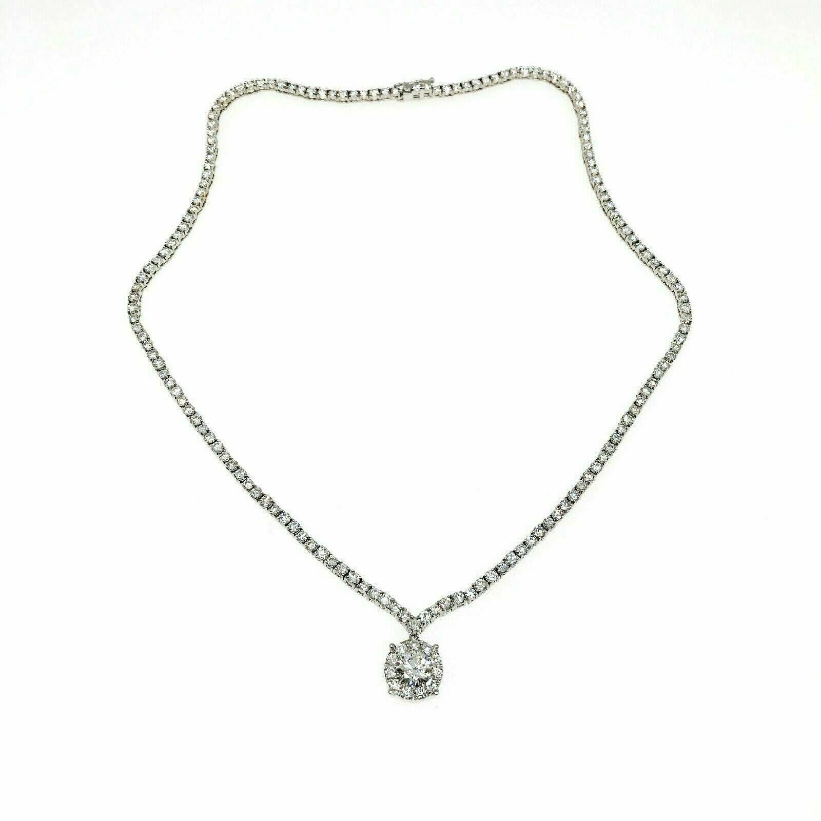 10.84 Carats t.w. Diamond 18K Gold Diamond Tennis Necklace w 1.06 Carats Center