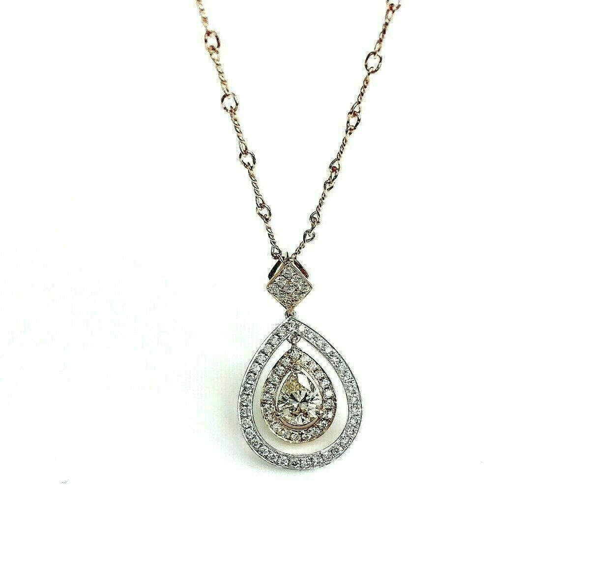 1.18 Carats t.w. Pear and Round Diamond Halo Pendant w Chain 18K Pendant