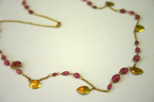 "9.00 TCW 19"" Natural Pink Sapphire String Pendant Necklace 14k Yellow Gold"
