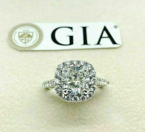 2.87 Carats tw Cushion GIA F VS1 Halo Hand Made Engagement Ring 2.12 Ex Ex Cut
