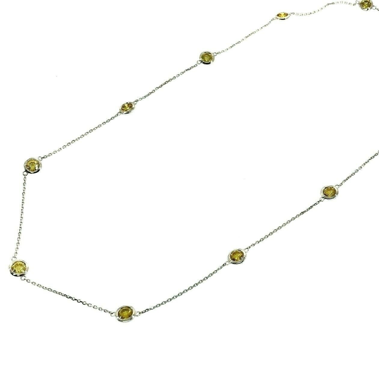 3.75 Carats Hand Assembled Fancy Yellow Diamond by The Yard Necklace Chain