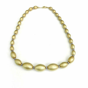 Solid 14K Gold 2Tone Gold Beaded Necklace 17 Inch 29.9 Grams Made in Italy
