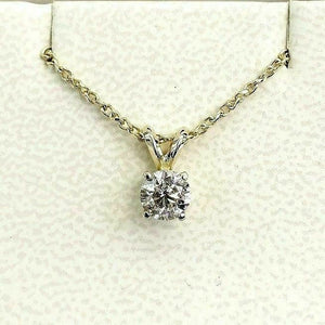 0.68 Carat 14K Round Diamond Solitaire Pendant with 14K Yellow Gold Chain