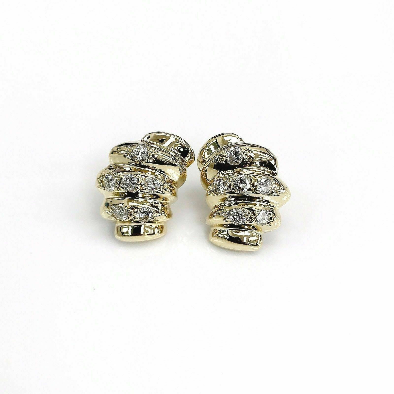 1.80 Carats Diamond French Clip Earrings 14K Yellow Gold 1.00 x 0.75 Inch