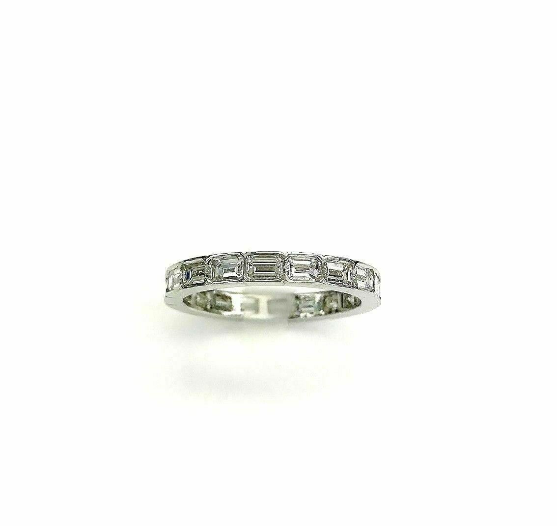 2.20Ct. Hand Made in USA Emerald Cut Diamond Eternity Band/Ring Platinum E-F VS
