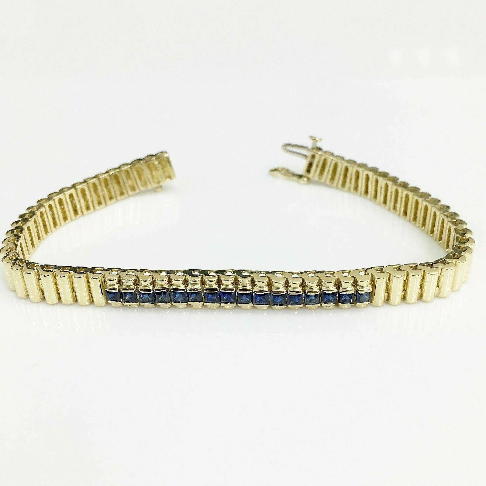 2.25Carats t.w. Bankers Sapphire Tennis Bracelet Custom Made 14K Yellow Gold