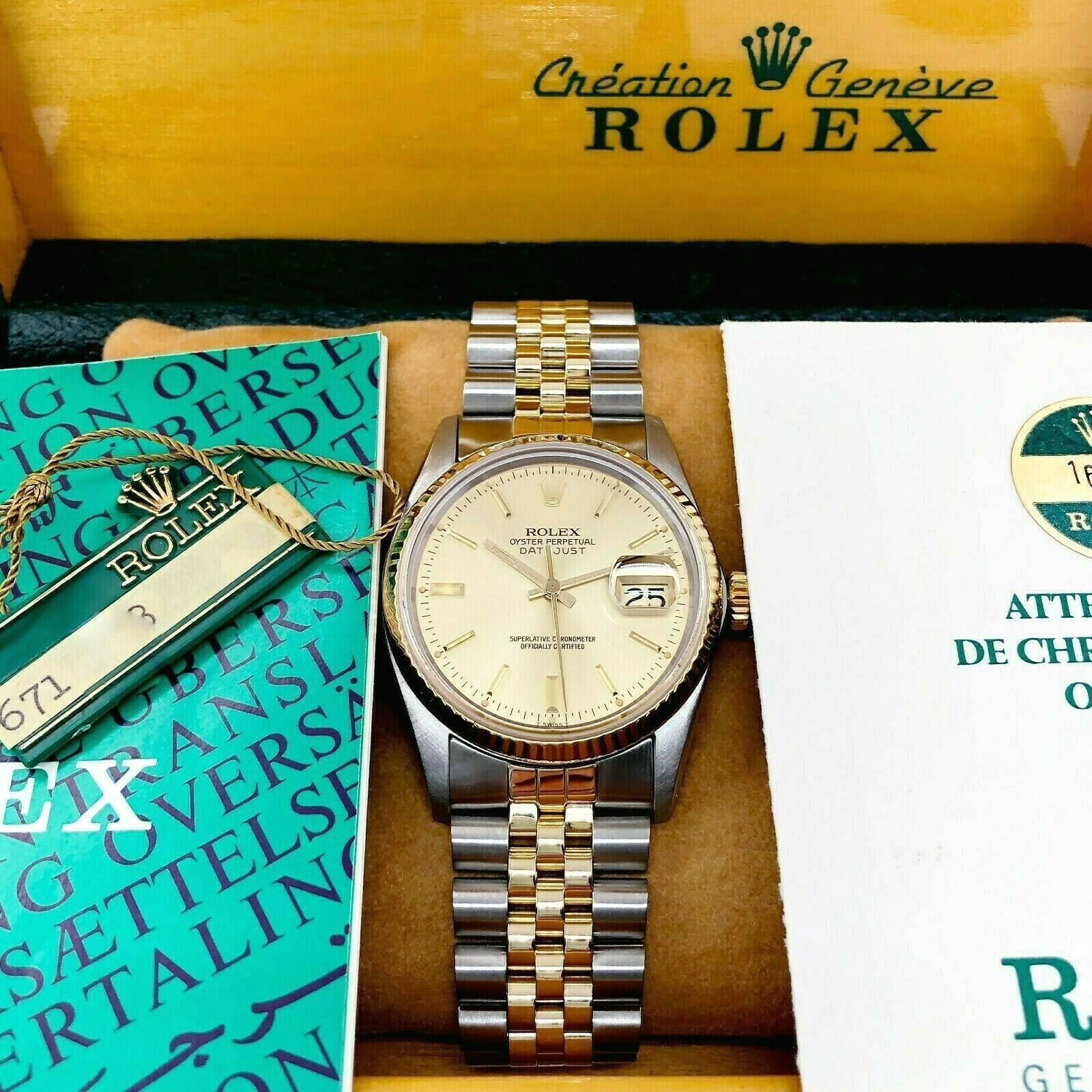 Rolex 36mm Datejust Watch 18K Yellow Gold Stainless Steel Ref 16013 Box & Papers