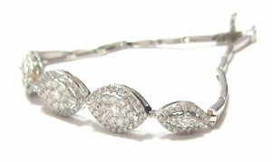 Fine 2.02TCW 5 Oval Cluster Diamond Bracelet G SI-1 14k White Gold 7.2 Inches