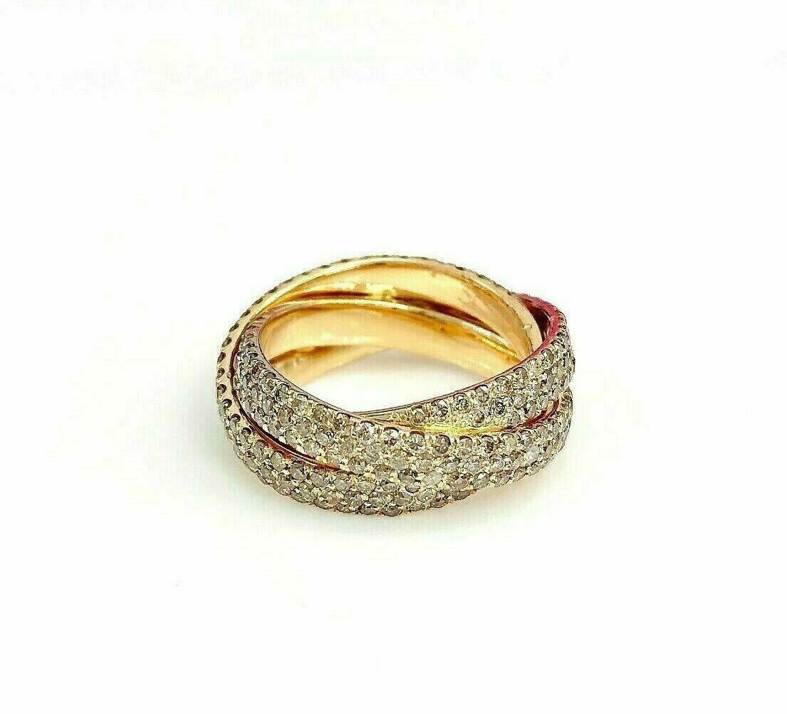 2.85 Carats Eternity Diamond Pave Anniversary/Celebration Band 18K Gold
