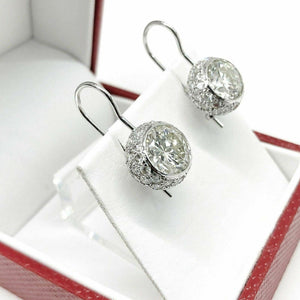 $55,100 Retail 7.11 Carats t.w. Round Brilliant Diamond Halo Dangle Earrings 18K