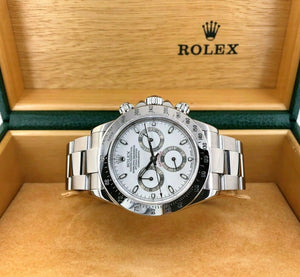 Rolex Cosmograph Daytona 40mm Stainless Steel White Dial 116520 Box & Papers