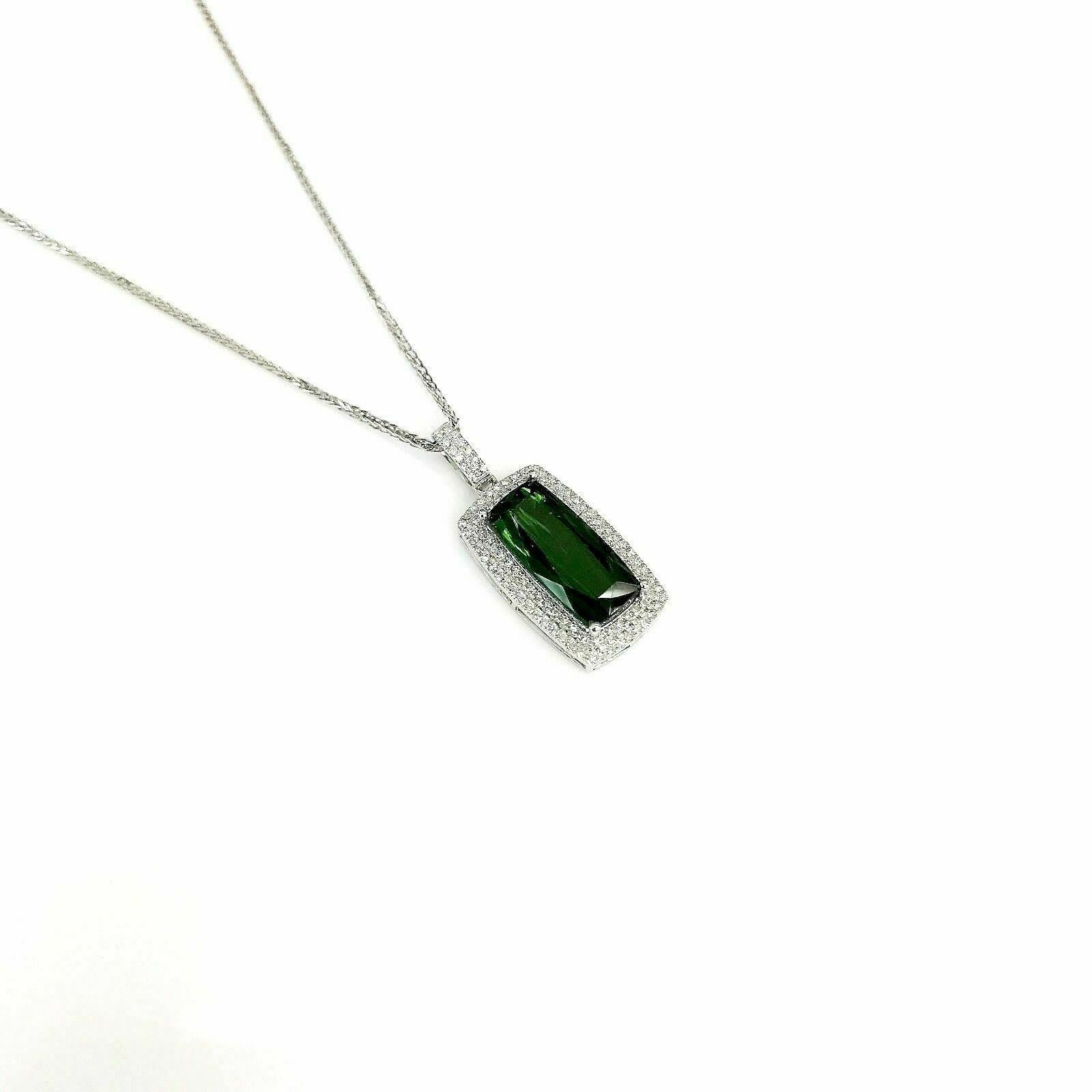 4.04 Carats t.w. Green Tourmaline & Diamond Halo Pendant w 14K Gold Chain