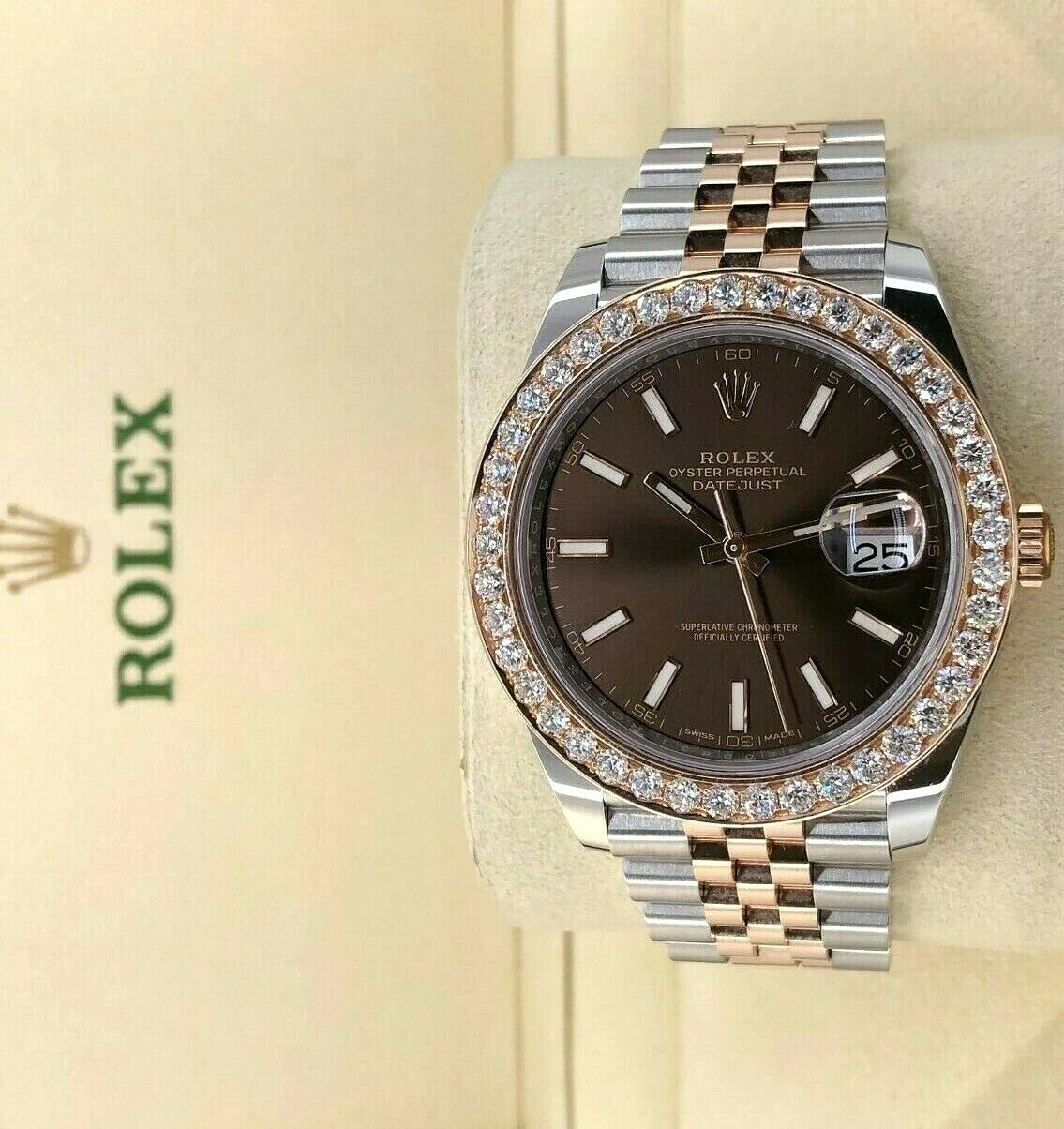 Rolex Datejust II Diamond Bezel Watch 18K Rose Gold Steel Jubilee Band 126331
