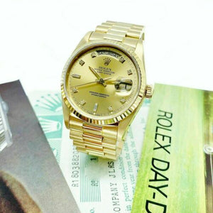 Rolex Day Date President 18K Yellow Gold 36mm Watch 18038 Factory Dial BoxPapers