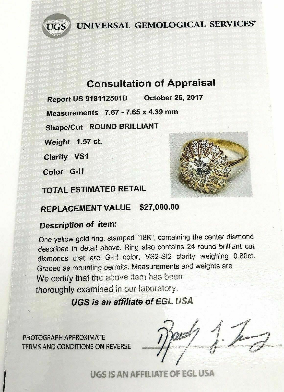 $27,000 Retail 2.37 Carats Diamond Wedding Ring 1.57 Carats EGLUSA GH VS1 Center
