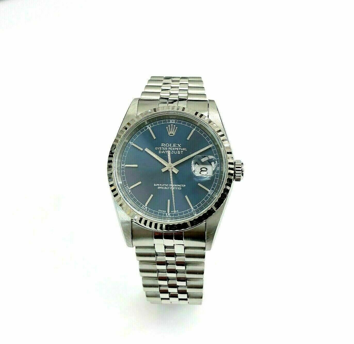 Rolex 36MM Datejust Watch 18K/Stainless Steel Ref # 16234 Factory Blue Dial QSet