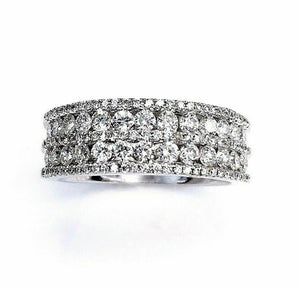 1.20 Carats t.w. Diamond Anniversary Ring 18K Gold GVS Diamonds 5 Rows Brand New