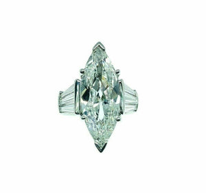 5.71 Carats Classic Marquise and Baguette Engagement Ring 4.91 Center Platinum