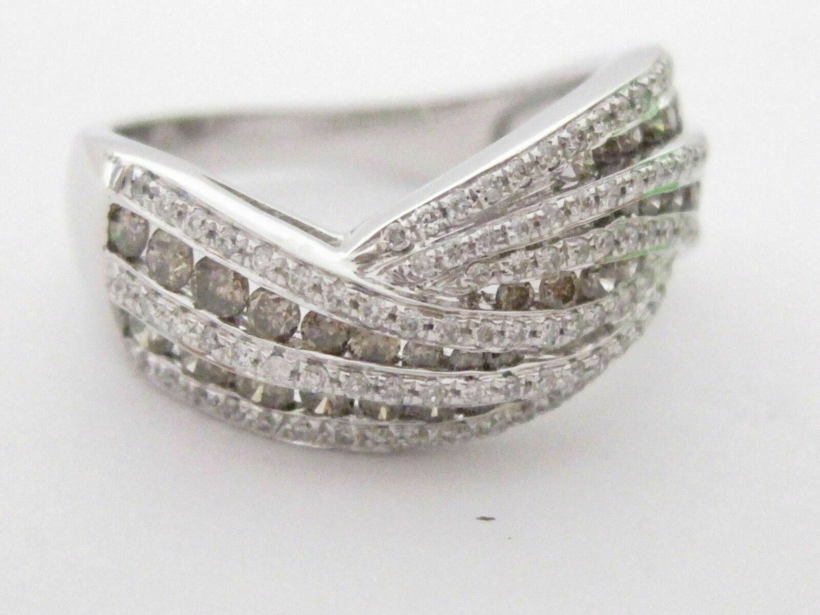 1.28 TCW Natural Wave Round Brilliant Champagne Diamond Ring 14k White Gold