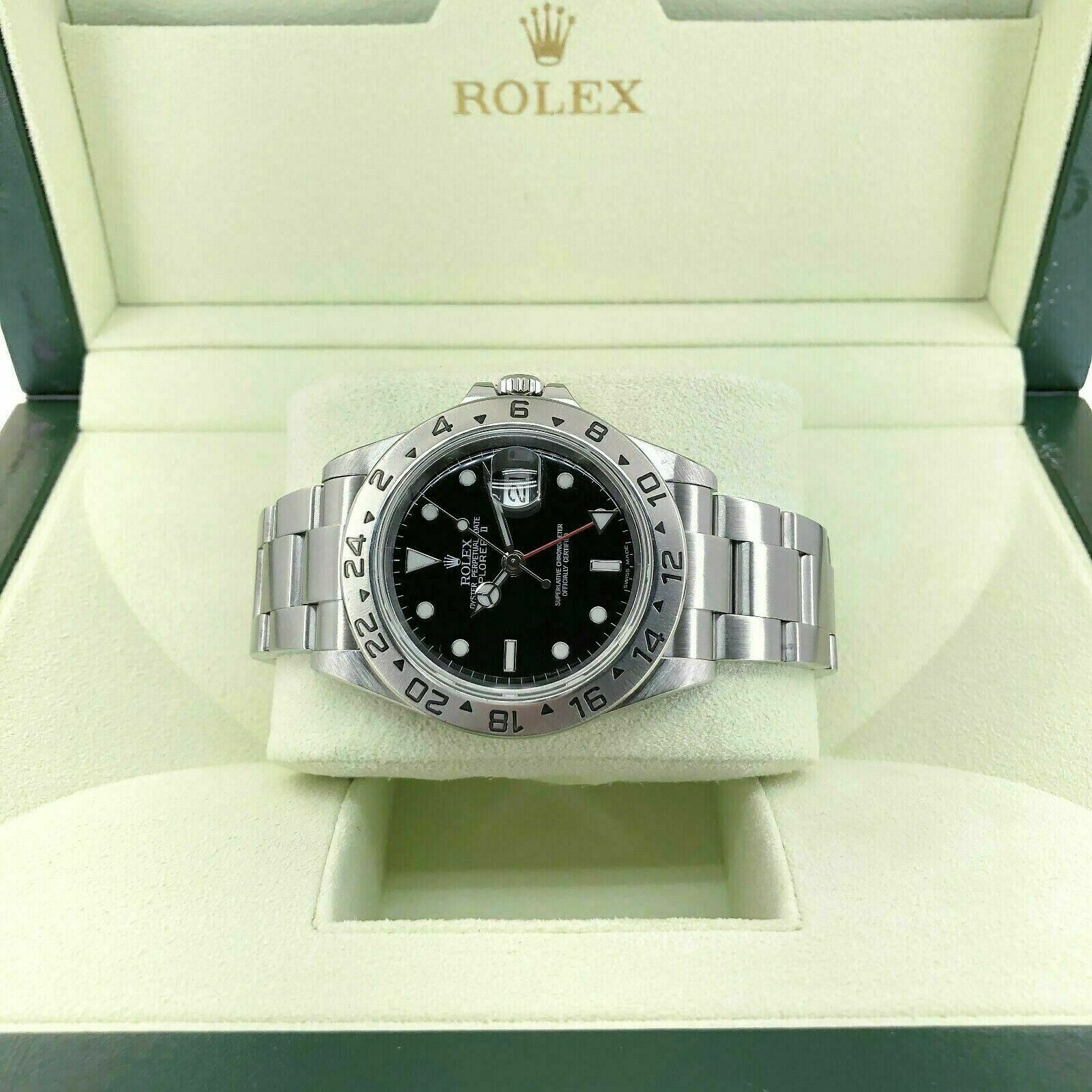 Rolex 40MM Black Explorer II Stainless Steel Watch Ref # 16570 F Serial 2003