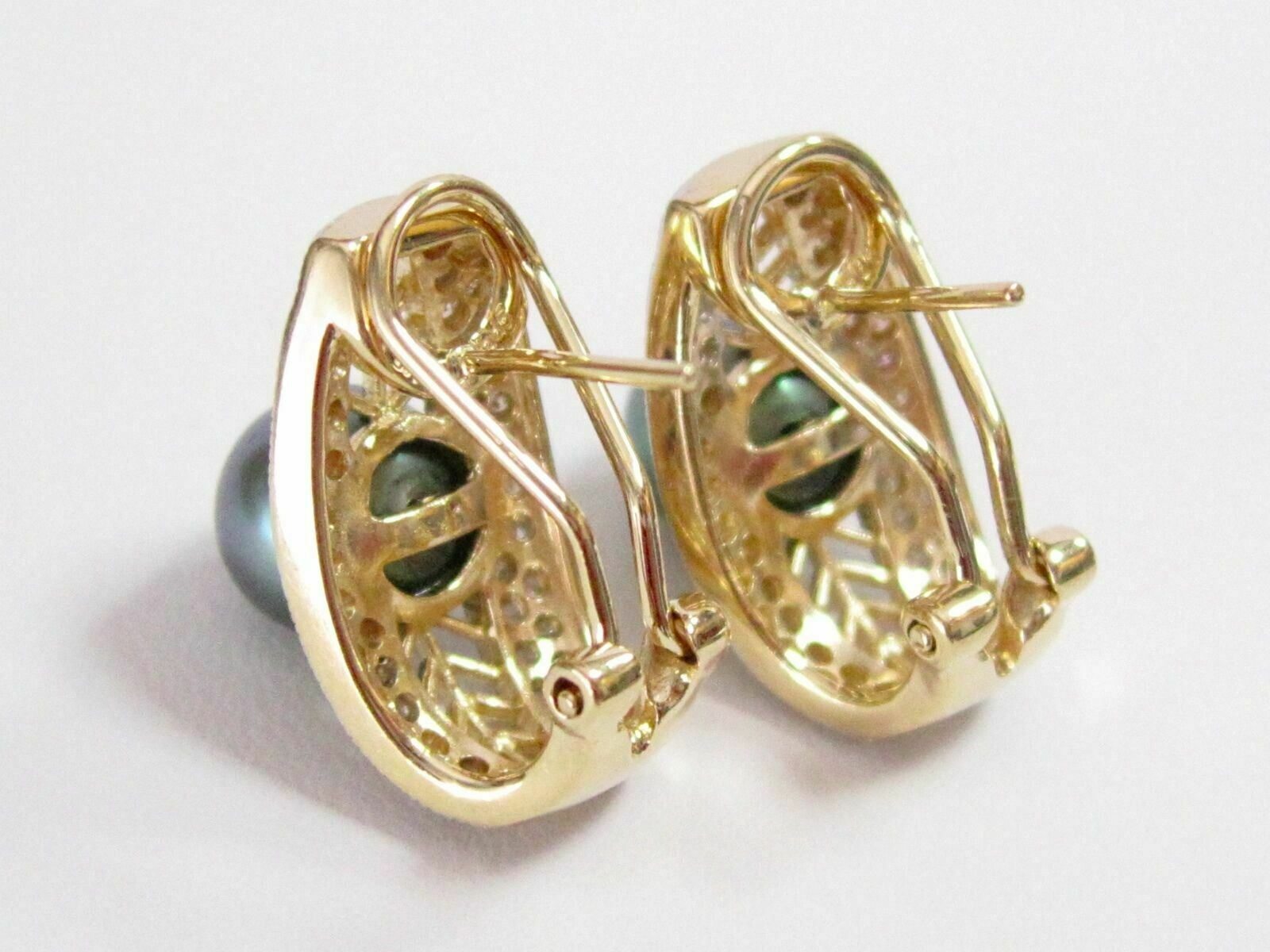 Fine Silver Green Pearl Diamond Huggie Earrings 14kt Yellow Gold