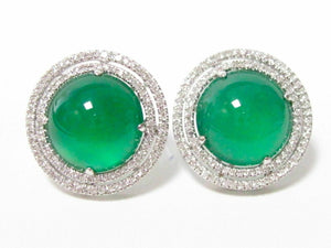 9.26 TCW Chrysoprase Chaceldony & Diamond Accents Earrings 14k White Gold
