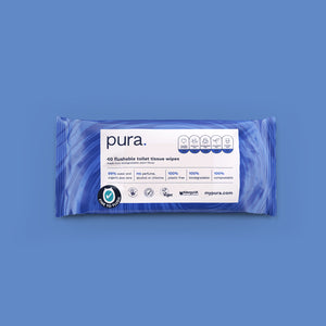 Pura 100% Plastic-Free, Biodegradable Flushable Toilet Tissue Wipes (14 x 40 pack)