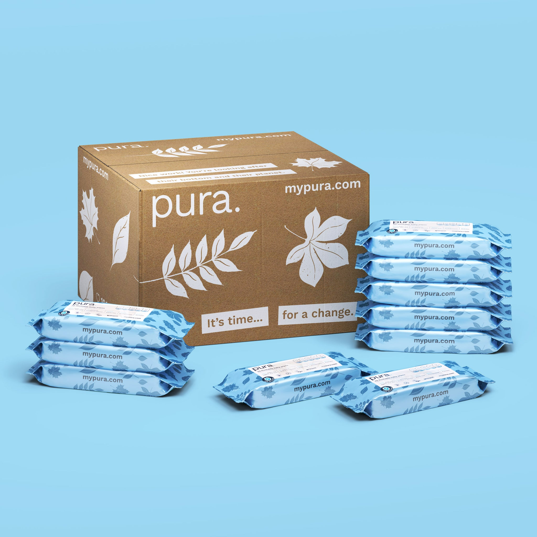 Pura Flushable 100% Plastic-Free Biodegradable Baby Wipes (70 pack x 10)