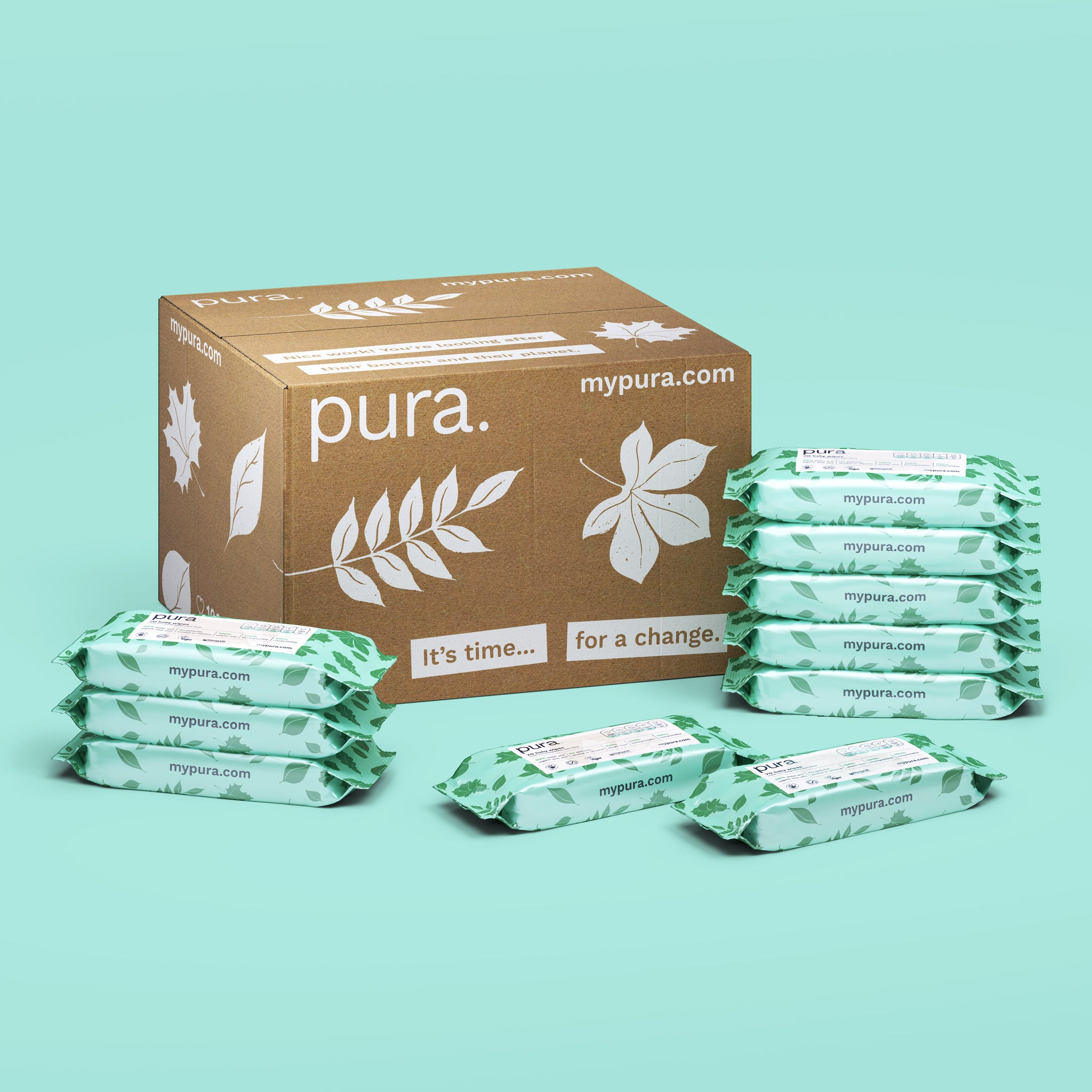 Pura 100% Plastic-Free Biodegradable Baby Wipes (70 pack x 10)