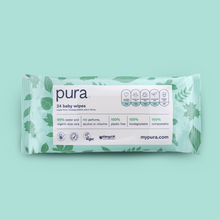 Load image into Gallery viewer, Pura 100% Plastic-Free Biodegradable Baby Wipes (24 handy pack x 28)
