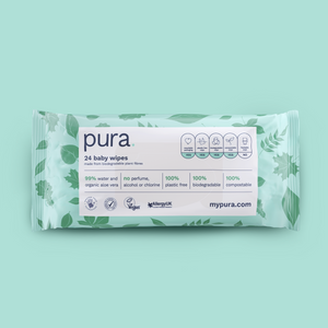 Pura 100% Plastic-Free Biodegradable Baby Wipes (24 handy pack x 28)