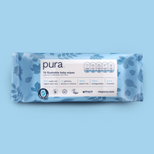 Load image into Gallery viewer, Pura Flushable 100% Plastic-Free Biodegradable Baby Wipes (70 pack x 10)