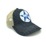 A Blue denim bill and front with a clay colored mesh back. Adjustable velcro strap on the back. A large rustic patch of the Blue Star Highway logo on the front.