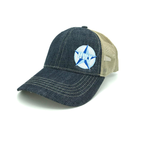 A Blue denim bill and front with a clay colored mesh back. Adjustable velcro strap on the back. A small Blue Star Highway logo on the front left panel.