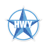 A Large 2 toned Blue Star Highway graphic with HWY in the middle of it.