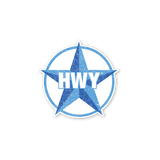 A Small 2 toned Blue Star Highway graphic with HWY in the middle of it.