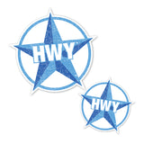 A Large and Small 2 toned Blue Star Highway graphic with HWY in the middle of it.