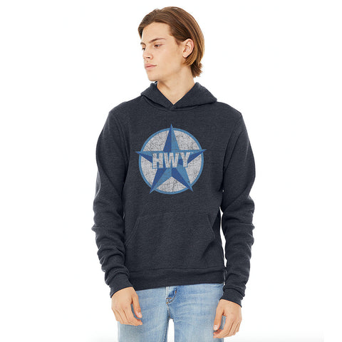 A guy wearing a Vintage Heather Navy Hoodie with a two toned blue graphic of the Blue Star Highway logo on it.