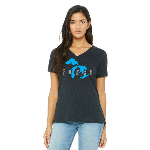 Fresh Ladies Relaxed Fit V-Neck T-Shirt