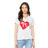 Heart Ladies Relaxed Fit V-Neck T-Shirt