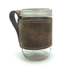 Mi Coast Leather Wrapped Mason Jar with Leather Coaster