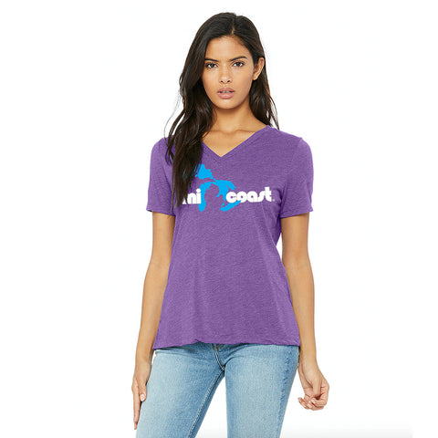 Mi Coast Ladies Relaxed Fit V-Neck T-Shirt