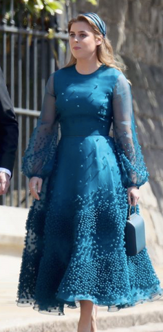 Princess Beatrice in Roksanda dress & Stephen Jones Millinery arrives at the Royal Wedding