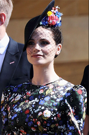 Charlotte Riley in Jane Taylor hat at Prince Harry & Meaghan Markle's royal wedding