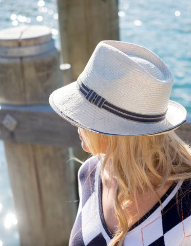Natural straw trilby, mens or womens, small, medium, large or extra-large, blue-grey headband