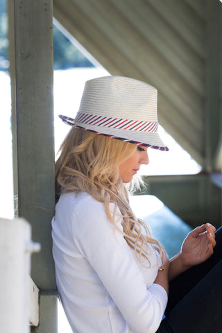 Natural straw trilby, mens or womens, small, medium, large or extra-large head size, polo stripe headband