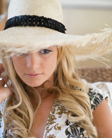 """Sirocco"" Summer Straw Fedora Hat - raffia X headband - Womens Resortwear"