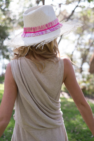 Sun hat, straw fedora, large fringe brim, small, medium, large or extra large head sizes, pink raffia fringe headband