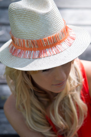 Sun hat, straw trilby, womens, small, medium, large or extra large head sizes, orange raffia fringe headband