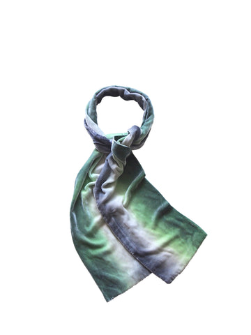 Silk & rayon velvet handmade designer ombre scarf - green and grey